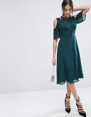 ASOS Cold Shoulder Midi Lace Dress with Rouleau Detail $76 thestylecure.com