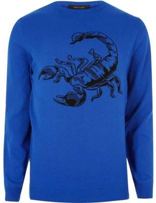 River Island Mens Big and Tall Blue knit scorpion jumper