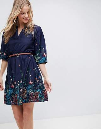 Yumi Belted Dress with 3/4 Sleeves in Meadow Border Print
