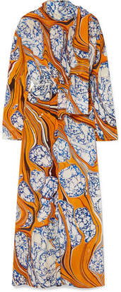Rosie Assoulin Printed Silk-blend Crepe De Chine Maxi Dress - Saffron