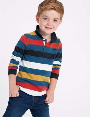 Marks and Spencer Pure Cotton Striped Polo Shirt (3 Months - 7 Years)