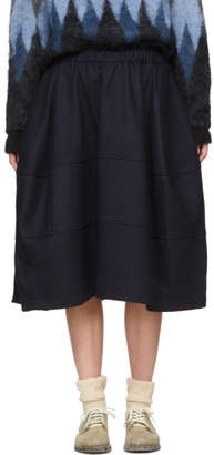 Comme des Garcons Navy Wool Three Panel Skirt