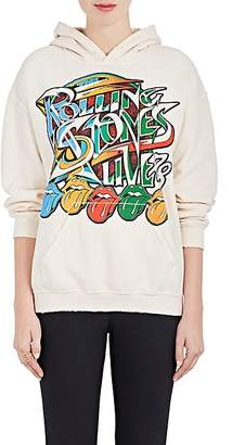 "Madeworn Women's ""Rolling Stones Live"" Cotton-Blend Fleece Hoodie - Dirty White"