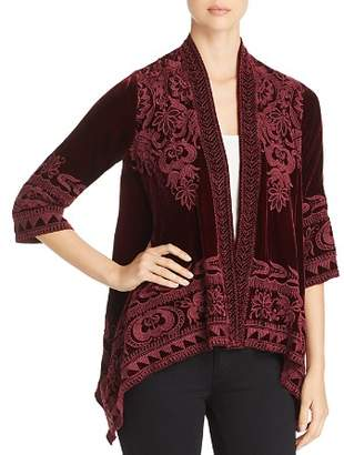 Johnny Was Hirsch Velvet Draped Cardigan