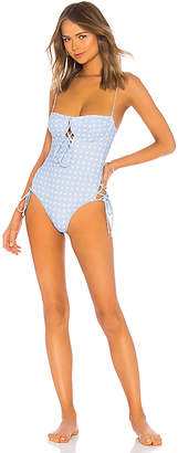 For Love & Lemons Heart Throb Lace Up One Piece