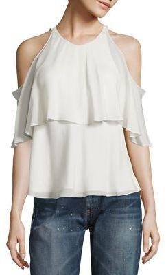Polo Ralph Lauren Silk Cold-Shoulder Blouse $225 thestylecure.com