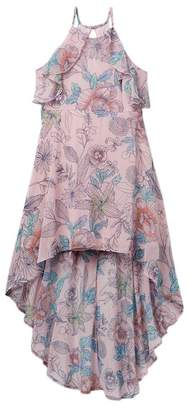 My Michelle mymichelle Floral Printed Ruffle Hi-Lo Dress (Big Girls)