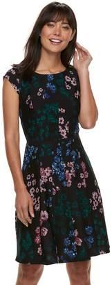 Elle Women's Seamed Fit & Flare Dress
