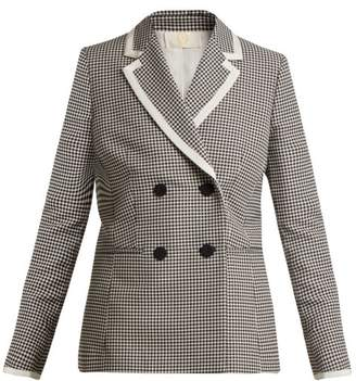 Sara Battaglia Hound's Tooth Double Breasted Jacket - Womens - Black White