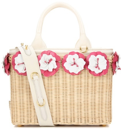 prada Prada Embellished wicker basket
