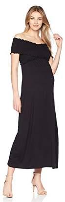 Maternal America Women's Maternity Criss Cross Off Shoulder Maxi Dress