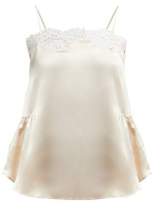Mes Demoiselles Gaufre Lace Trimmed Silk Camisole - Womens - Ivory