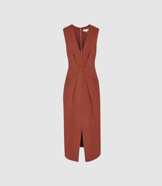 Reiss Gracie - Pleat Detailed Midi Dress in Rust