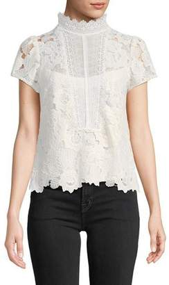 Nanette Lepore Flower Lace Short-Sleeve Top