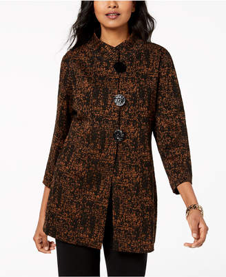 JM Collection Printed Mandarin-Collar Jacket, Created for Macy's