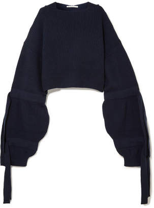 Stella McCartney Cropped Ribbed Cashmere-blend Hooded Sweater - Midnight blue