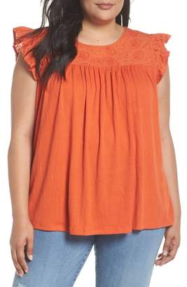 Caslon Eyelet Embroidered Flutter Sleeve Top