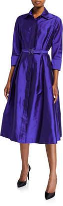 Rickie Freeman For Teri Jon 3/4-Sleeve Belted Taffeta Shirtdress