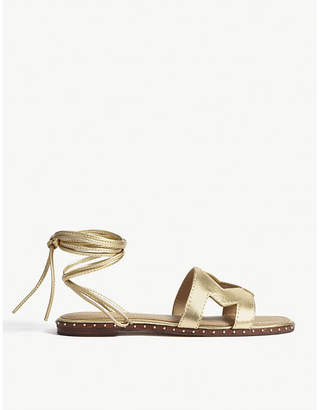 Maje Metallic leather 'M' sandals