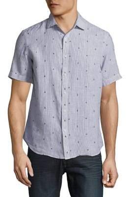 Black & Brown Black Brown Striped Linen Short-Sleeve Shirt