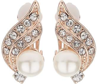 Mikey Flower Crystal Pearl Centre Clip Earring