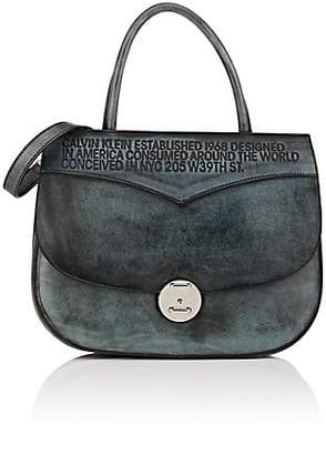 Calvin Klein Women's Leather Satchel - Cadet Blue Black