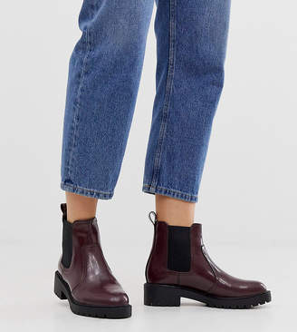 New Look Wide Fit chunky flat chelsea boots in dark red