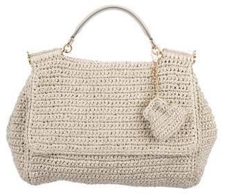 Dolce & Gabbana Leather-Trimmed Raffia Bag