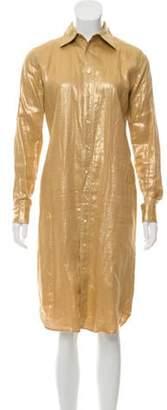 Ralph Lauren Linen Midi Button-Up Dress Gold Linen Midi Button-Up Dress