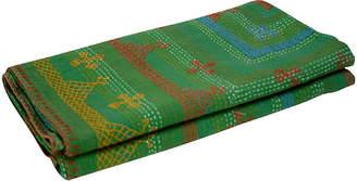 One Kings Lane Vintage Green Tribal Coverlet