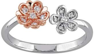 Laura Ashley Two Tone Sterling Silver 1/10 Carat T.W. Diamond Flower Ring $850 thestylecure.com