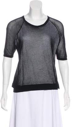 Tibi Short Sleeve Mesh Top