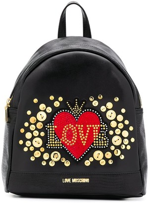 Love Moschino Love embellished heart backpack