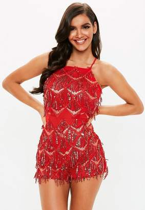 Missguided Red Sequin Tassel Playsuit, Red