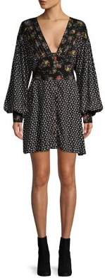 Free People Floral Blouson-Sleeve Mini Dress