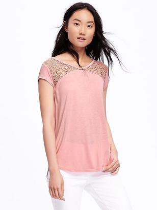 Relaxed Lace-Yoke Top for Women $24.94 thestylecure.com