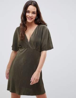 Asos Design DESIGN wrap front mini plisse tea dress