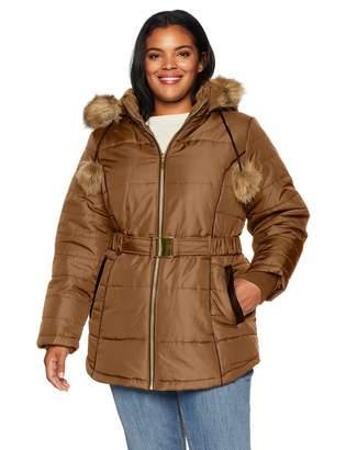 Details Women's Plus Size Davie Thigh-Length Faux Fur Trimmed Winter Coat