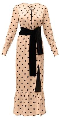 Raquel Diniz Teresa Polka Dot Print Silk Dress - Womens - Camel