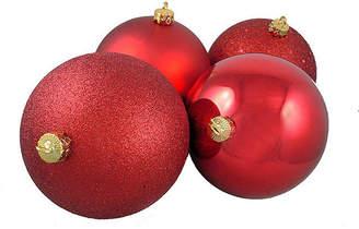 Asstd National Brand 4ct Red Hot Shatterproof 4-Finish Christmas Ball Ornaments 8 (200mm)
