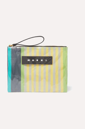 Marni Leather-trimmed Pvc And Striped Canvas Pouch - Yellow