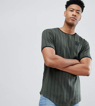 SikSilk muscle t-shirt in khaki stripe exclusive to ASOS