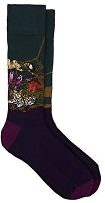 Corgi Men's Jungle-Scene Cotton-Blend Mid-Calf Socks - Purple