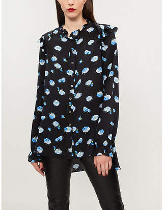 The Kooples Floral-print ruffled silk shirt