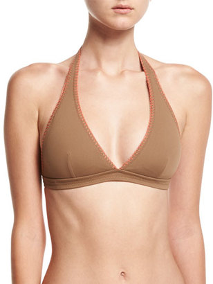 Letarte Whipstitch Halter Bikini Swim Top, Brown $102 thestylecure.com