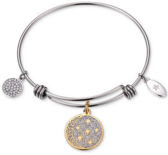 """Unwritten Two-Tone """"Never Stop Looking Up"""" Glitter Bangle Bracelet in Gold-Tone & Stainless Steel"""