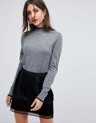 Selected Scalloped High Neck Knit
