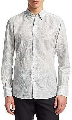 Ermenegildo Zegna Men's Palm Leaf Button-Down Shirt