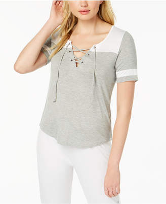 Material Girl Juniors' Lace Up T-Shirt, Created for Macy's