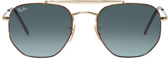 Ray-Ban Gold and Blue The Marshal Aviator Sunglasses